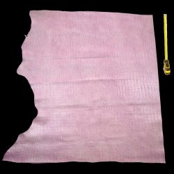 Cuir de Vachette Rose imprimée Croco
