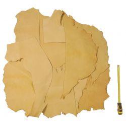 0,2 kg Chutes cuir tannage végétal Mouton Basane coloris Naturel