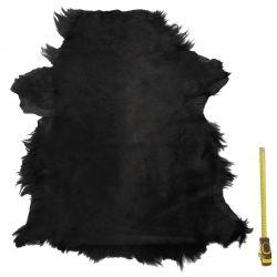 Peau entière de chèvre avec poils Noir