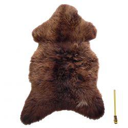 Grande peau entière de Mouton à longs poils marron