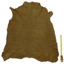 Peau entière d'Agneau Vert foncé velours ép. 0,8 mm