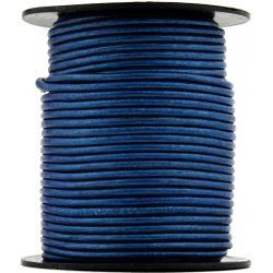 1 mètre de Cordon Cuir rond Bleu diam. 2mm