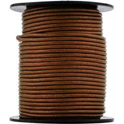 1 mètre de Cordon Cuir rond Orange cuivré diam. 2mm