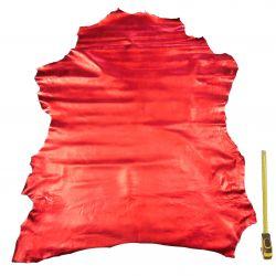 Peau entière d'Agneau Rouge métallisé