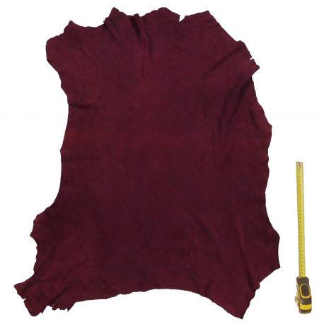 Peau entière d'Agneau Rouge Bordeaux finition Velours