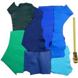 Lot 10 kg chutes de cuir Veau Togo multicolores