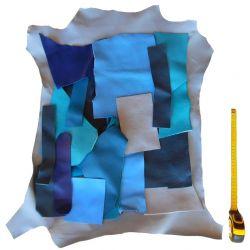 Lot chutes de cuir bleues