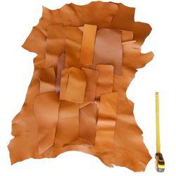 Lot chutes de cuir marron