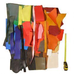 10 kg petites chutes de cuir multicolores - idéal création bijoux