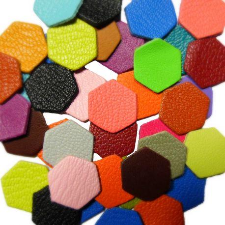 10 Hexagones en cuir multicolores