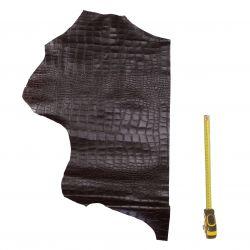 Cuir de Vachette Marron foncé imprimée Croco