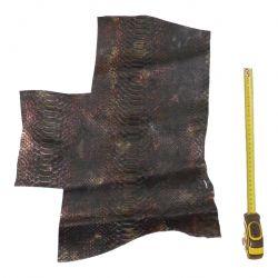 Peau de Vachette Marron imprimée Serpent