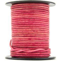 1 mètre de Cordon Cuir rond Rose Vintage diam. 2mm