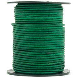 1 mètre de Cordon Cuir rond Vert Vintage diam. 2mm