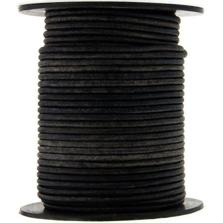 1 mètre de Cordon Cuir rond Noir diam. 2mm