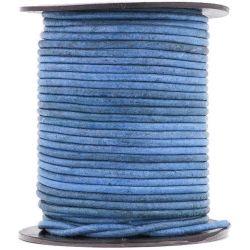 1 mètre de Cordon Cuir rond Bleu Royal Vintage diam. 2mm