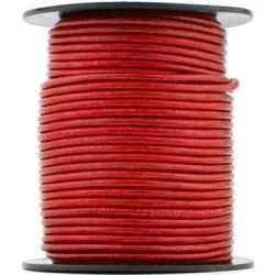 1 mètre de Cordon Cuir rond Rouge diam. 2mm