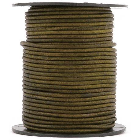 1 mètre de Cordon Cuir rond Vert diam. 2mm