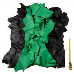 Chutes de cuir Chèvre Noir et Vert