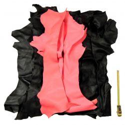 1 kg chutes de cuir Chèvre Noir et Rose