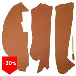 3 grands morceaux de cuir Veau Swift Marron