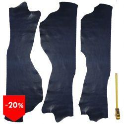 3 grands morceaux de cuir Veau Swift Bleu
