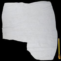 Peau Croûte de cuir Vachette blanche finition velours