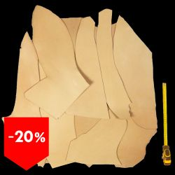 PROMO 3 kg chutes cuir Vachette tannage végétal ép. 2,2 mm