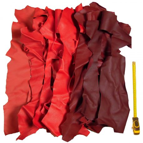 Lot 1 kg chutes de cuir Rouges