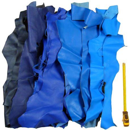 Lot 1 kg chutes de cuir Bleus