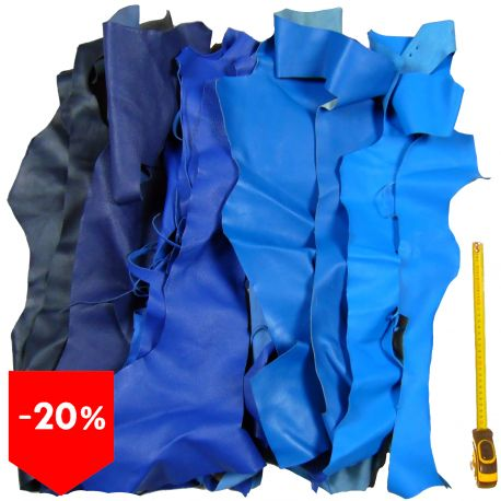 PROMO lot 3 kg chutes de cuir Bleus