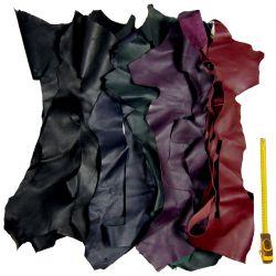 Lot 2 kg chutes de cuir multicolore foncé
