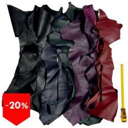 Lot 3 kg chutes de cuir multicolore foncé