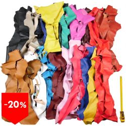 PROMO lot 3 kg chutes de cuir 20 coloris