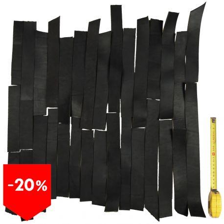 PROMO lot 1 kg bandes cuir tannage végétal noir