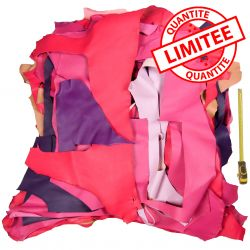 Lot 1 kg chutes de cuir 5 coloris