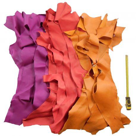 Lot 1 kg chutes de cuir 3 coloris