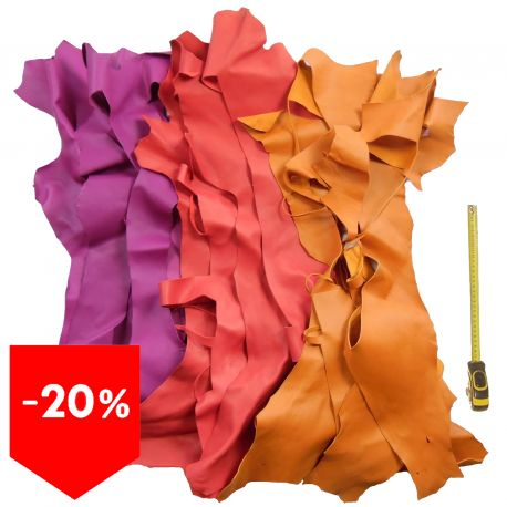 Lot 3 kg chutes de cuir 3 coloris