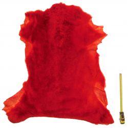 Peau entière d'Agneau avec poils Rouge