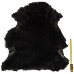 Peau entière d'Agneau avec poils Noir