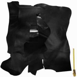 1 m² de grands morceaux Cuir Veau Box noir